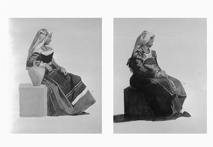 Etudes de costumes : Frosino près Port-Danzio (18), Costumes des Abruzzes (19)