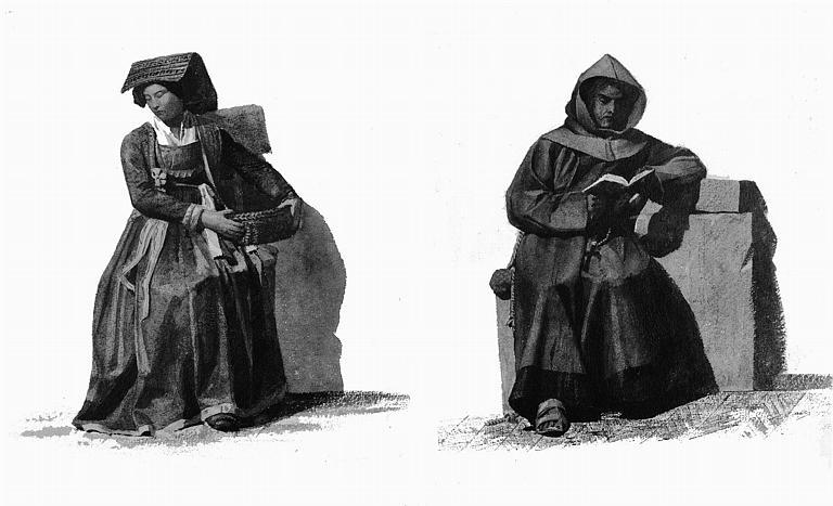 Etudes de costumes : Moine de Saint-Bonaventure (39), Nettuno presso Porta Danzio (40)