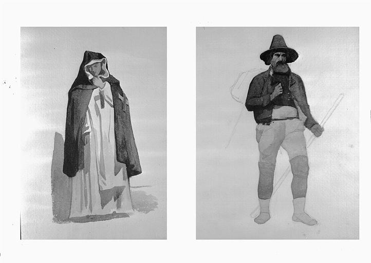 Etudes de costumes : Piferano (43), costume d'homme (44)