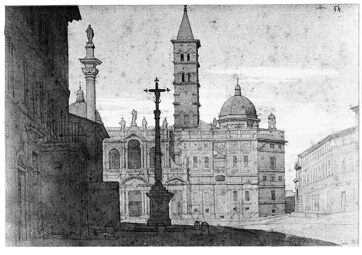 Dessin (crayon noir, lavis brun et gris, rehauts de gouache blanche sur papier gris) : La basilique Sainte-Marie-Majeure à Rome