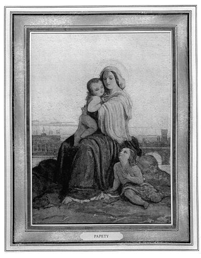 Dessin (crayon noir et aquarelle) : Vierge à l'Enfant et saint Jean-Baptiste devant la basilique Saint-Jean-de-Latran