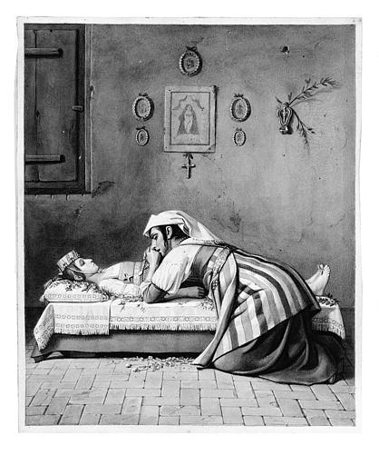 Lavis brun : Mère pleurant sur le corps de sa jeune fille