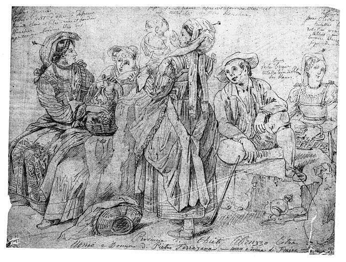 Dessin (crayon noir sur papier calque) : Etudes de costumes de la région des Abbruzzes