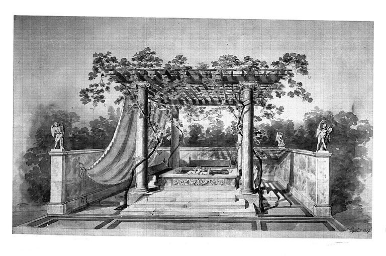 Dessin (crayon noir et aquarelle) : Reconstitution d'un bassin antique surmonté d'une pergola