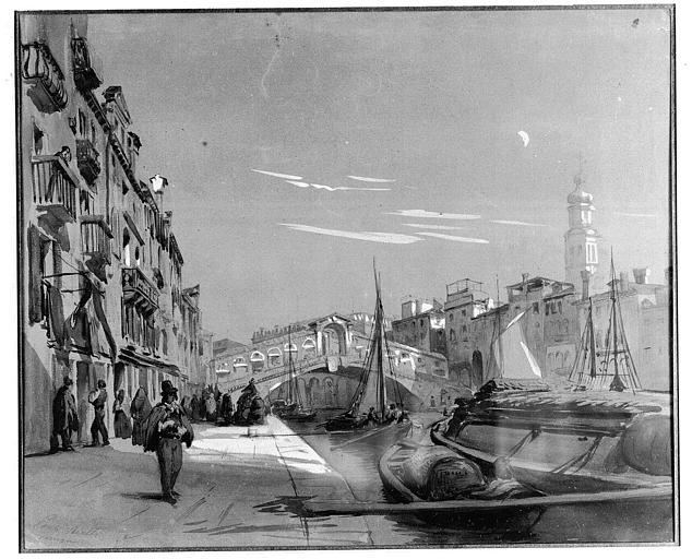 Dessin (crayon noir et aquarelle rehaussée de gouache sur papier beige) : Le pont du Rialto à Venise, vu de la Fondementa del vin
