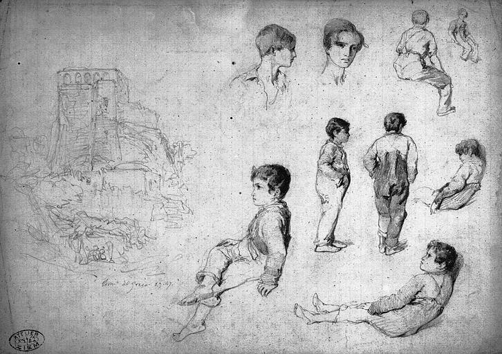 Dessin au crayon noir : Tour à Torre del Greco et étude d'enfants et d'adolescents
