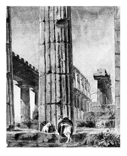 Aquarelle : Un berger et son chien dans le Temple de Neptune à Paestum
