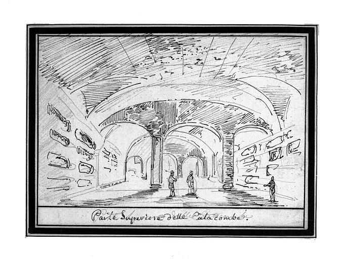 Dessin à la plume : Partie supérieure d'une catacombe à Rome