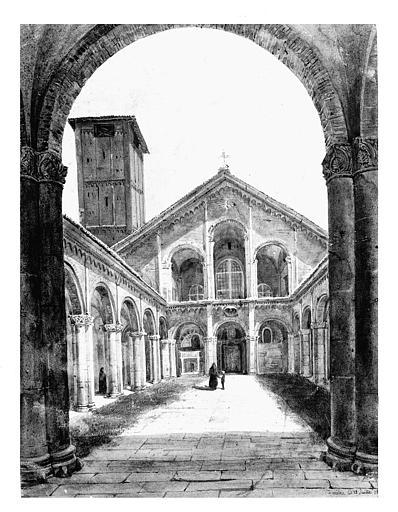 Dessin ou peinture : Cloître et façade de Saint-Ambroise de Milan