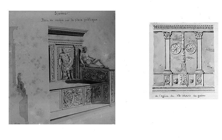 Deux dessins aquarellés : Sienne, banc en marbre sur la place publique de l'église de Sainte-Marie (Milan)