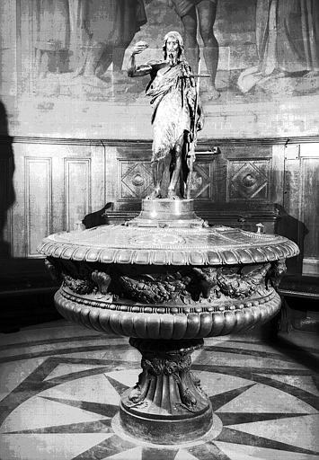 Fonts baptismaux : Cuve en bronze et statuette en bronze de saint Jean-Baptiste commandée en 1836