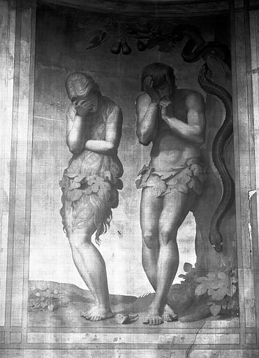 Chapelle des fonts baptismaux, peinture murale sur fond d'or : Le péché originel