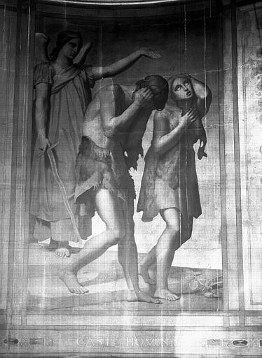 Chapelle des fonts baptismaux, peinture murale sur fond d'or (signée et datée en bas à gauche) : Adam et Eve chassés du paradis terrestre