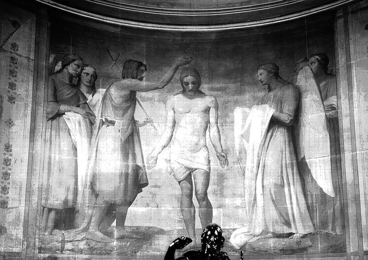 Chapelle des fonts baptismaux, peinture murale sur fond d'or : Le Baptême du Christ