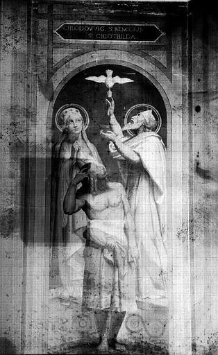Chapelle des fonts baptismaux, peinture murale : Baptême de Clovis