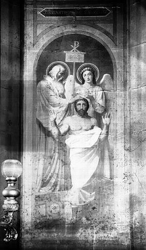 Chapelle des fonts baptismaux, peinture murale : Baptême de Constantin
