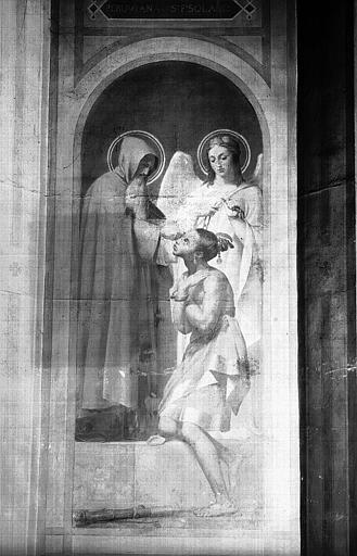 Chapelle des fonts baptismaux, peinture murale : Baptême d'une péruvienne par saint François Solano