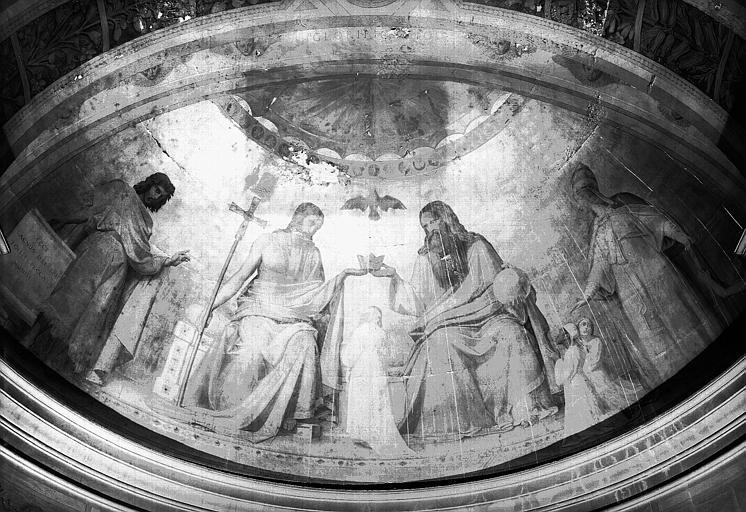Chapelle des fonts baptismaux, peinture murale sur fond d'or du cul-de-four : Glorification du baptisé