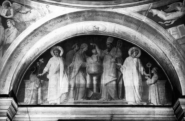 Chapelle des fonts baptismaux, peinture murale de la lunette : Le Baptême par l'eau