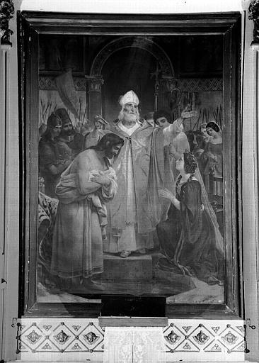 Peinture sur toile du maître-autel de la chapelle : Baptême de Clovis