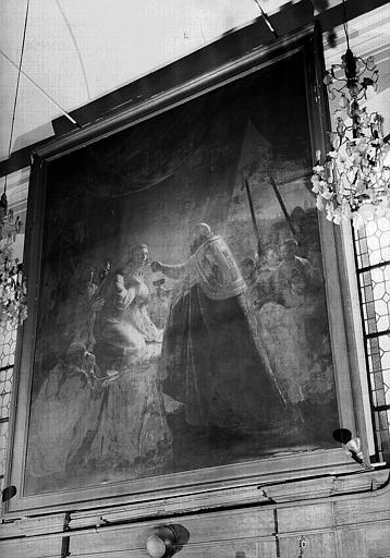 Peinture sur toile de la chapelle : La dernière communion de Saint Louis