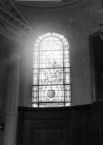 Saint Louis, fenêtre droite du choeur de la chapelle, panneau de vitrail