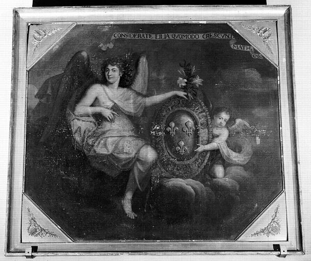 Peinture sur toile de la chapelle : Deux anges portant les armes de France
