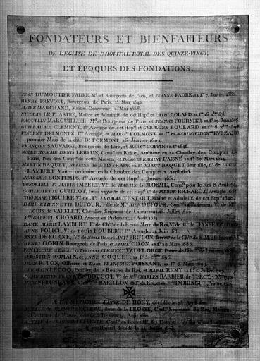 Plaque de cuivre de la chapelle : Liste des fondateurs et bienfaiteurs de l'église de l'Hôpital Royal des Quinze-Vingts