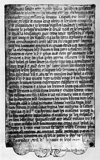 Plaque de cuivre de la chapelle : Plaque funéraire et de fondation de messes de Nicolas le Plastre et sa femme