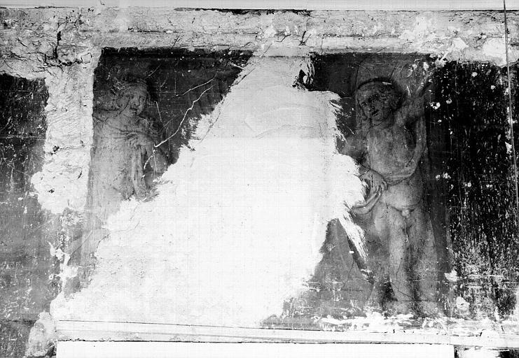Peinture murale encadrant la porte de l'ancienne salle à manger : Deux enfants (dessus de porte)