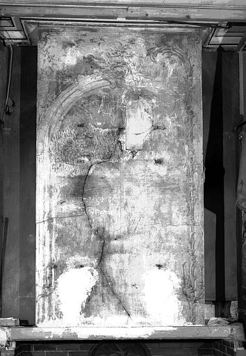 Manteau de cheminée de l'ancienne bibliothèque :  dessin avec un cadre de glace