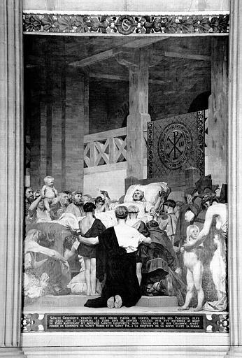 Peinture murale : Mort de sainte Geneviève (panneau central)