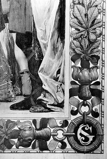 Peinture murale : Bordure et monogramme 'SG' (détail du panneau de droite de la Mort de sainte Geneviève)
