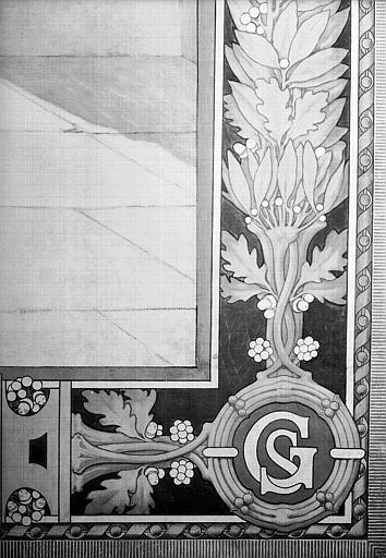 Peinture murale : Bordure et monogramme 'SG' (détail du panneau de sainte Geneviève veillant sur Paris)