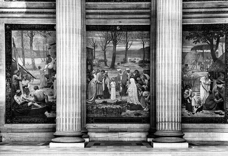 Peinture murale : Saint Germain d'Auxerre bénissant sainte Geneviève