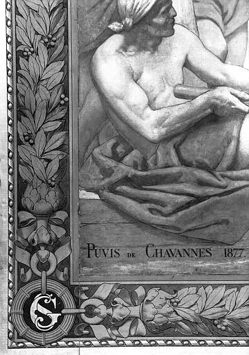 Peinture murale : Bordure, monogramme 'SG' et signature (détail du panneau de saint Germain d'Auxerre bénissant sainte Geneviève)