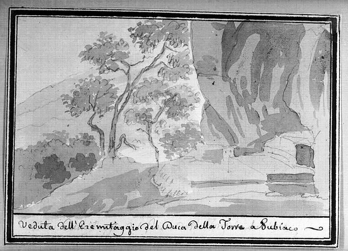 Lavis brun : Veduta dell'Eremètaggio del Duce della Torre a Subiaco