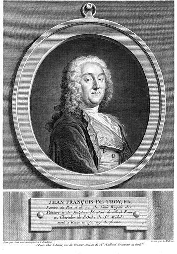 Gravure : Portrait de Jean-François de Troy fils, peintre du roi et de l'Académie Royale de peinture et Sculpture (mort en 1752)