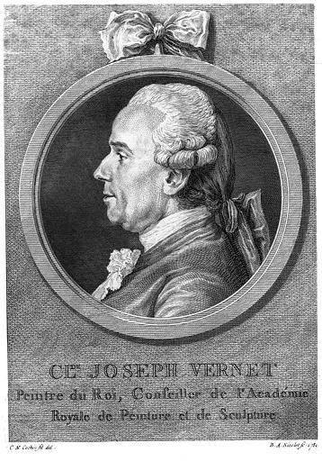 Gravure : Portrait de Claude-Joseph Vernet, peintre du roi, conseiller de l'Académie Royale de Peinture et de Sculpture (né en 1714)
