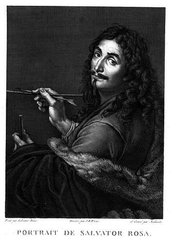 Gravure : Portrait de Salvador Rosa peignant