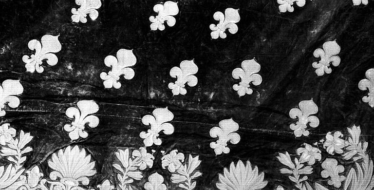 Manteau funèbre de la pompe de Louis XVIII en velours et fil d'or : Fleurs de lys (détail de la bordure)