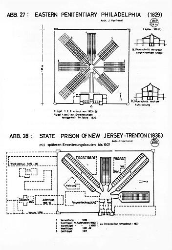 Plans comparés : Eastern Penitenciary (1829) et State Prison of New Jersey, Trenton (1836)