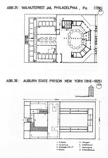 Plans comparés : Walnutstreet Jail Philadelphia (1790) et Aubern State Prison New York (1816-1825)