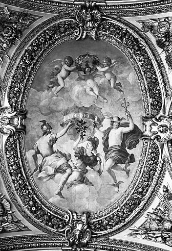 Appartements d'Anne d'Autriche, plafond peint du Salon de la Paix (ancien vestibule) : Allégorie du Traité des Pyrénées (médaillon central)