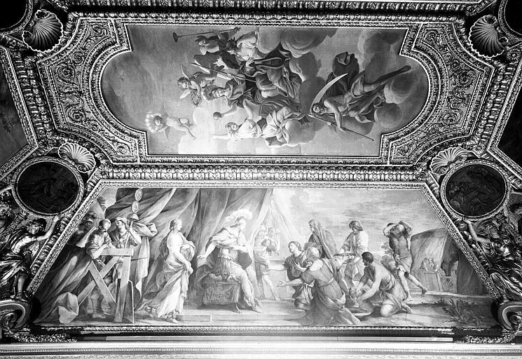Appartements d'Anne d'Autriche, plafond peint de la salle Septime Sevère (ancien cabinet) : La Continence de Scipion