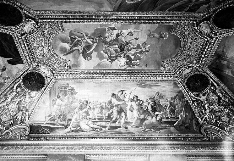 Appartements d'Anne d'Autriche, plafond peint de la salle Septime Sevère (ancien cabinet) : L'Enlèvement des Sabines