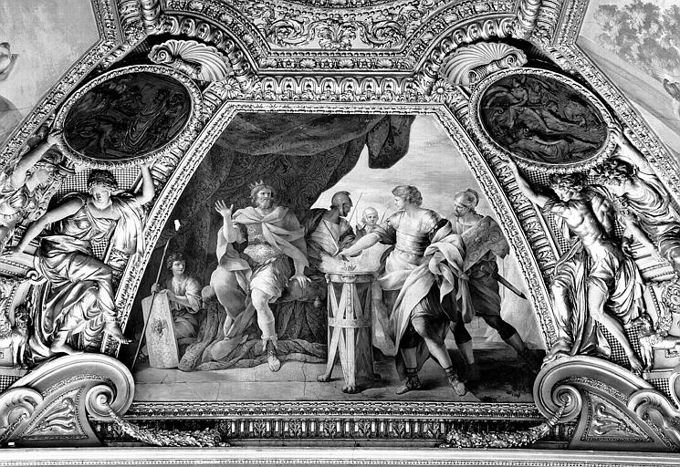 Appartements d'Anne d'Autriche, plafond peint de la salle Septime Sevère (ancien cabinet) : Mucius Scaevola