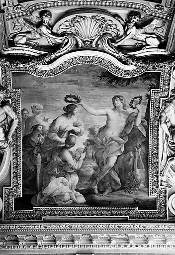 Appartements d'Anne d'Autriche, plafond peint de la salle des Saisons : Apollon et les Muses