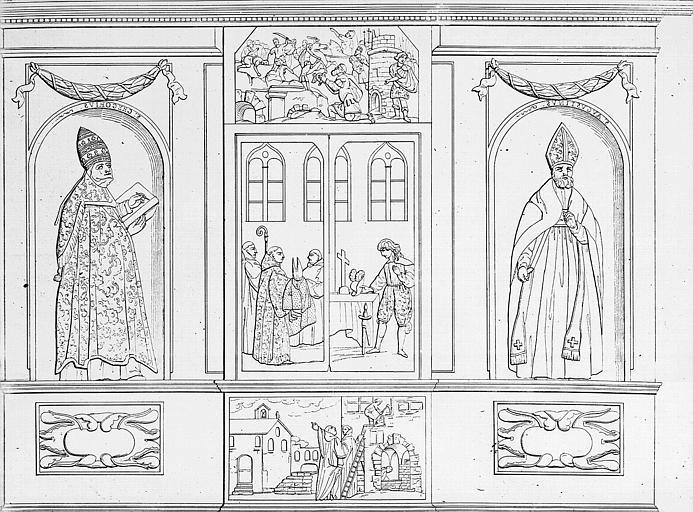Lithographie : L'armoire du chef de Sainte-Gilbert