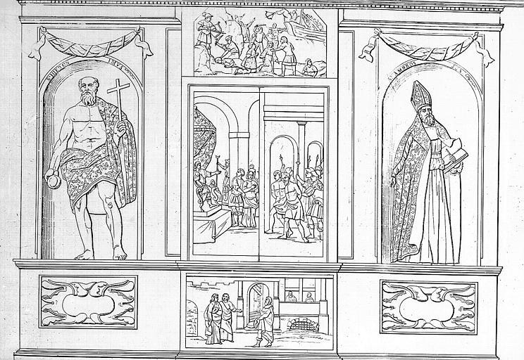 Lithographie : L'armoire du chef de Sainte-Suzanne